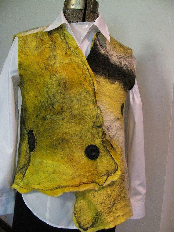 Asymetrical original designed nuno felted vest