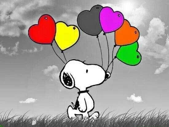 Snoopy with colorful heart-shaped balloons. #iLuv #iLuvSnoopy                                                                                                                                                      More