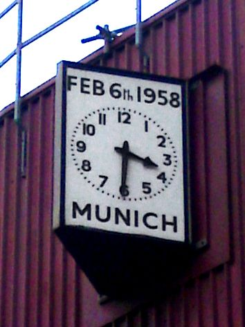 The Munich Clock, on the South-East corner of Old Trafford
