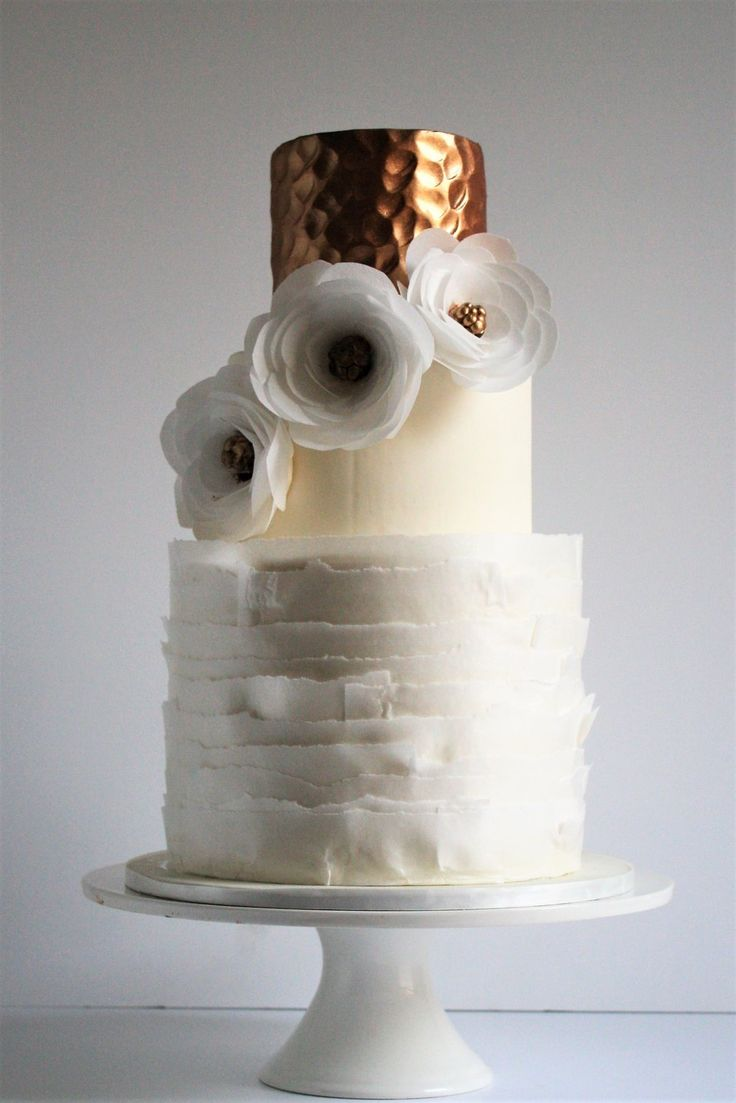 Hammered Copper And Wafer Paper Wedding Cake Perth