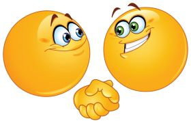 two emoticons shaking hands sticker