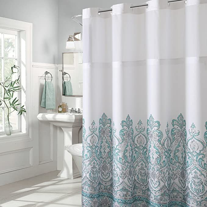 Amazon Com Hookless Damask Border Print Shower Curtain Home Kitchen In 2020 Shower Curtain Sets Curtains Black Shower Curtains