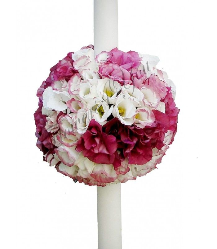 Lumanari botez hortensia roz lisiantus alb roz