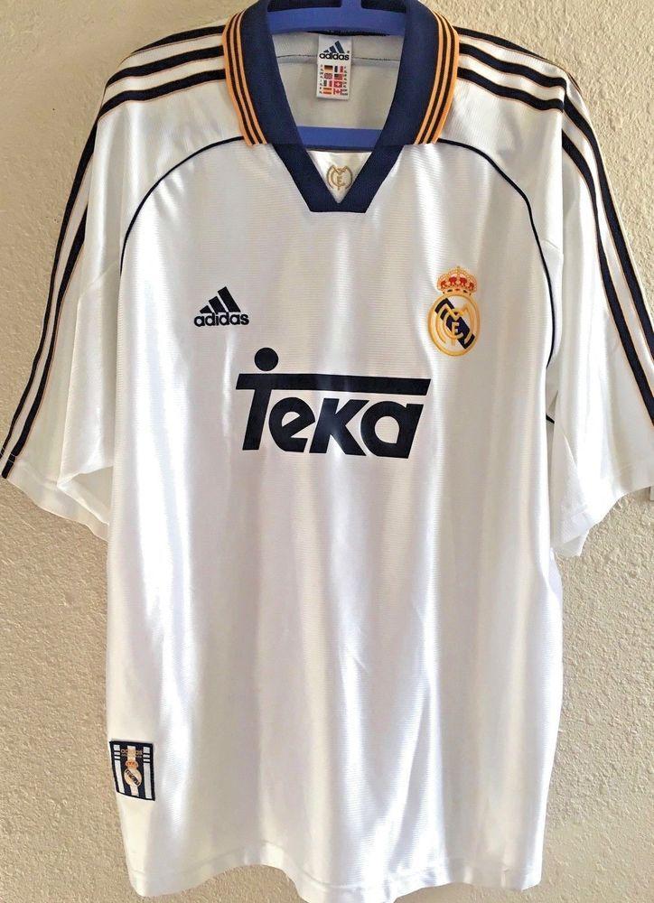 ff086f185 Adidas Real Madrid White XL Soccer Football Jersey Shirt Made Portugal Teka  C99  adidas  RealMadrid