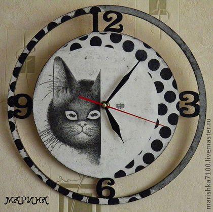 """Часы """"Не пора ли подкрепиться?"""" - декупаж работы,часы настенные,авторские часы"""