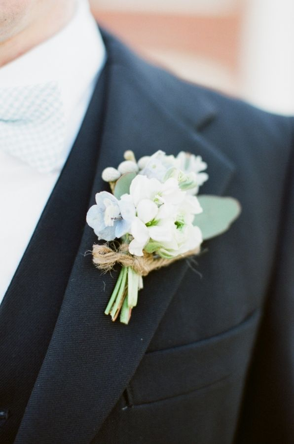 hydrangea bout tied with jute - Alea Lovely - http://ruffledblog.com/vintage-estate-wedding-inspiration/