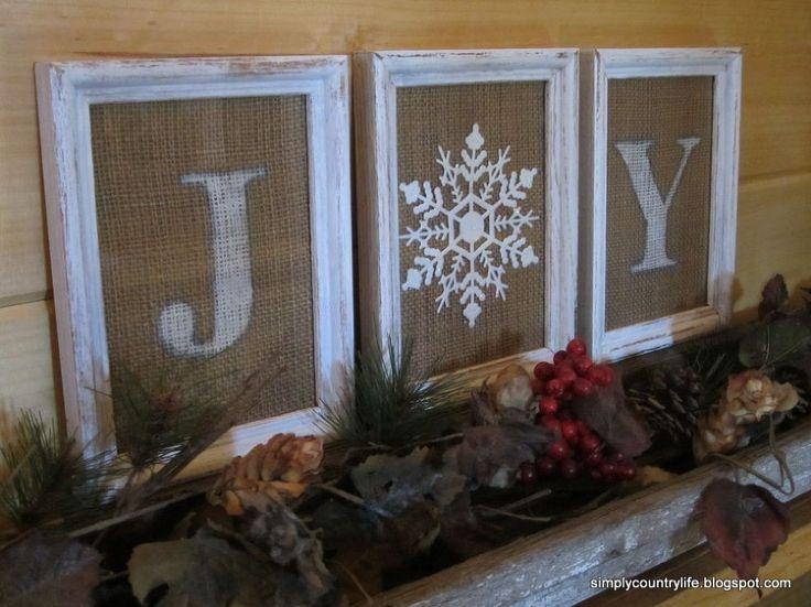 Burlap and a Dollar Tree Ornament Joy Sign - Using thrifted frames, scrap burlap and a dollar tree snowflake ornament I created a JOY sign. I…