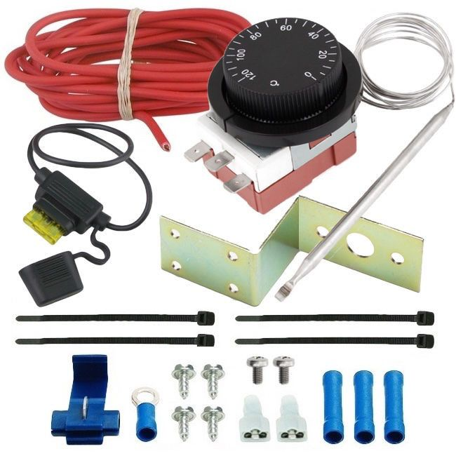 Adjustable Electric Radiator Fan Thermostat Switch Temperature Controller Kit