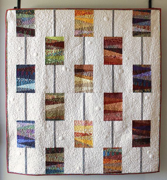 """Quilt pattern - create a beautiful modern quilt using scraps, 54"""" x 60"""" - Instant download PDF"""