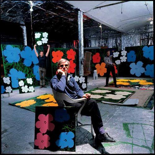 Warhol in studio in NYC
