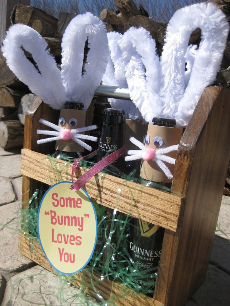12 best easter for beer lovers images on pinterest beer basket awesome diy spring hostess gift adorable adult easter basket bunny rabbit beer carrier at etsy or mini wine bottle carrier negle Choice Image