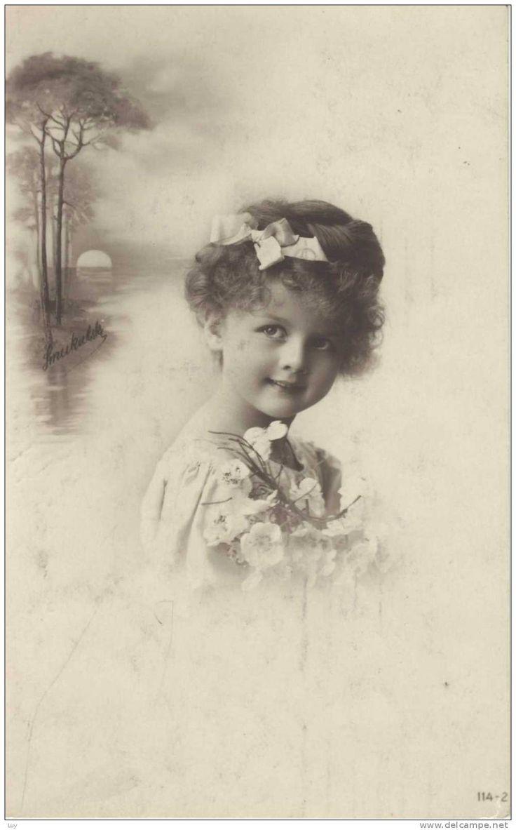 1914 - kleines Mädchen Haarschleife , petite fille