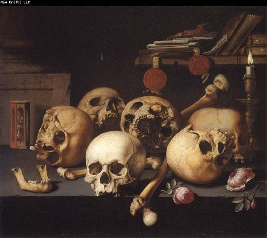 Detail from Aelbert van der Schoor, Still Life with Skulls, c. 1650. arsauroprior