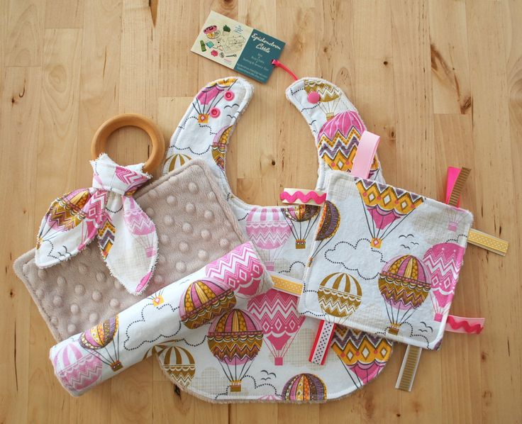 Baby Girl Gift Set - Hot Air Balloon Bib, Burp Cloth, Crinkle Teether w/ Maple Teething Ring, & Crinkle / Sensory Toy -Blown Away Collection by EpidendronLittle on Etsy https://www.etsy.com/listing/219746189/baby-girl-gift-set-hot-air-balloon-bib