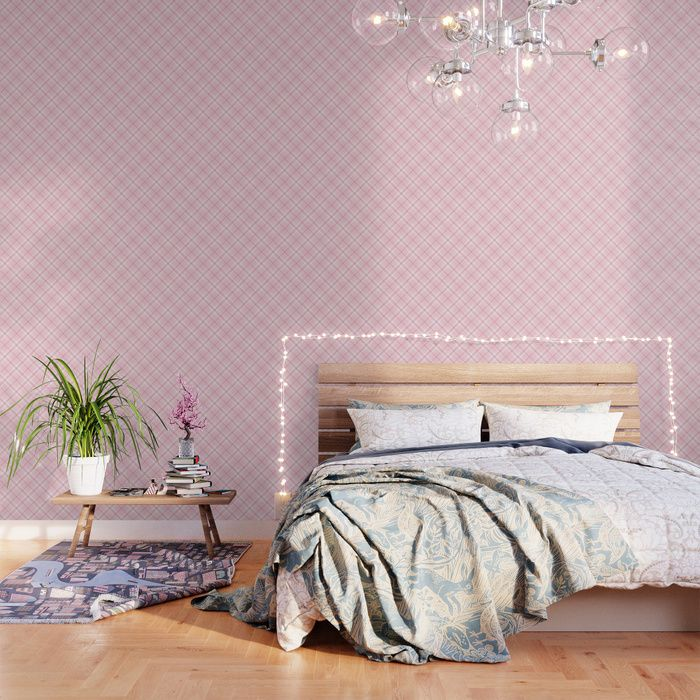 Buy Blush Pink Plaid Wallpaper By Newburydesigns Worldwide Shipping Available At Society6 Com Ju Pattern Wallpaper Peel And Stick Wallpaper Striped Wallpaper