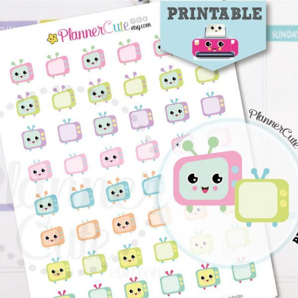 Kawaii TV Stickers,  Kawaii Printable Planner Stickers, Television Stickers, Cute Tv show Stickers, Erin Condren K008