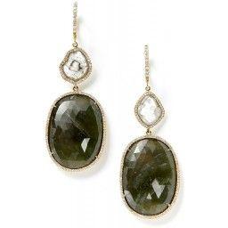 green sapphire and diamond slice earrings - monique pean