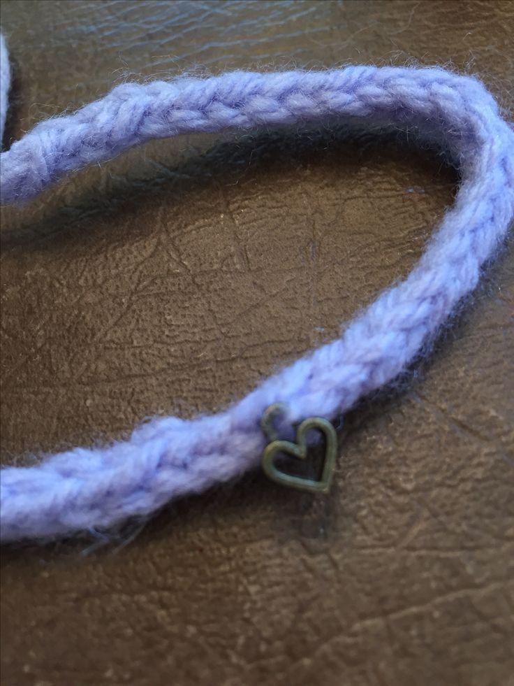 Heartwink bracelet Handknit I-cord bracelet with precious heartcharm