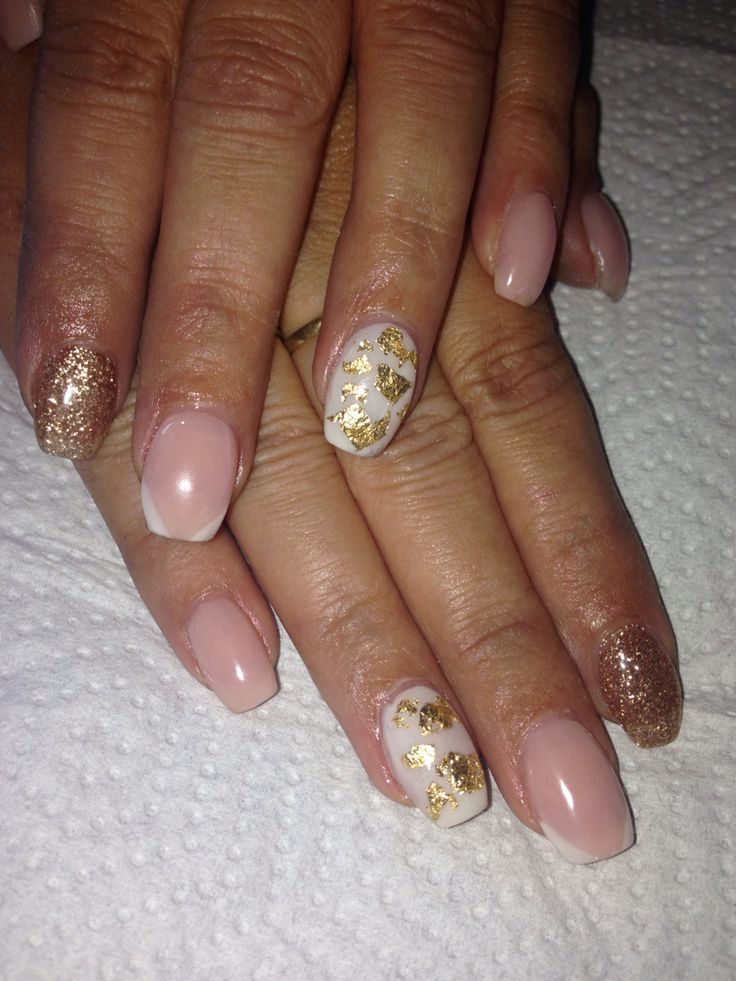 Gold glitter and gold foil.