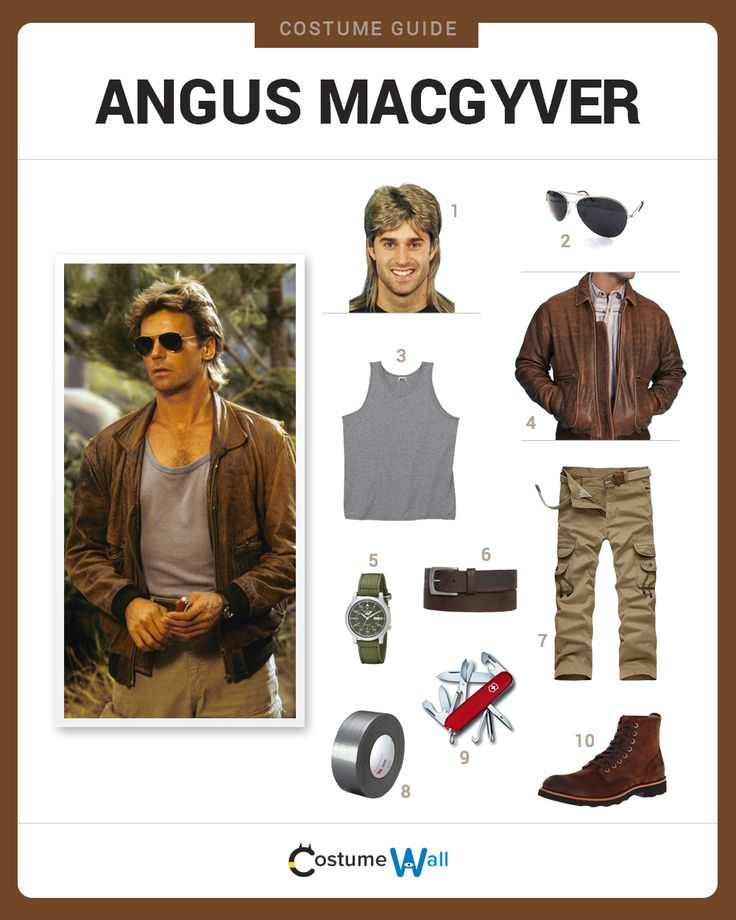 Dress Like Angus MacGyver from the popular TV show. See more costumes and cosplays of MacGyver.