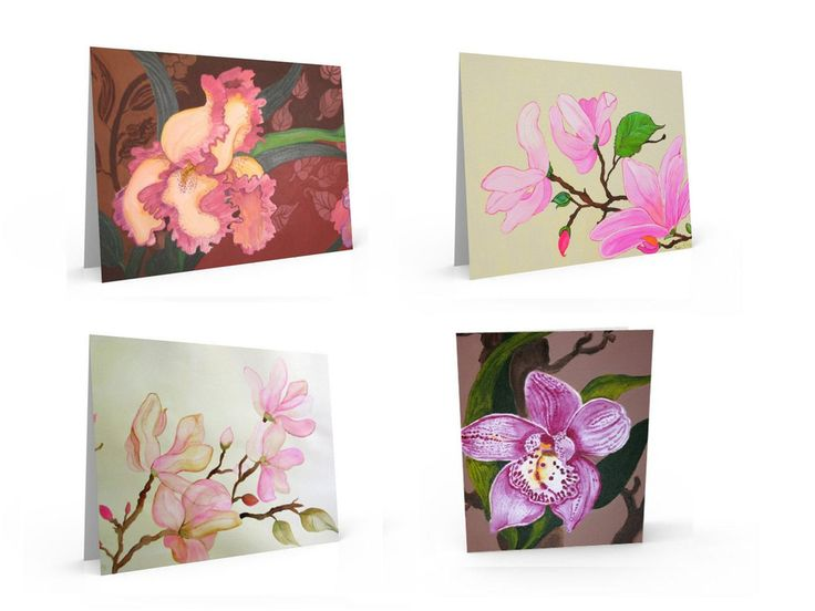 variety package of four pink floral greeting cards.