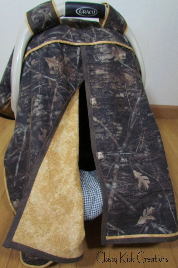 Muted Brown True Timber Camo Baby Boy Car Seat Blanket Canopy / Car Seat Cover / Car Seat Blanket Tent