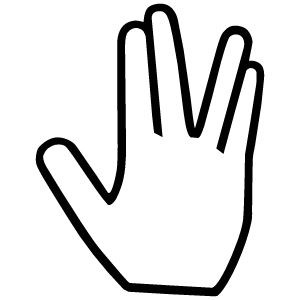 Here's a great salute for all you Star Trek fans! Whether you're offering an apology for a Vulcan nerve pinch or a pre- mind-meld blessing, this gesture is sure to be returned with true Vulcan honor!