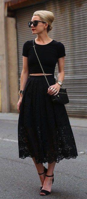 черная кружевная юбка, юбка из кружева