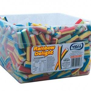 A 1.8kg tub of Vidal Rainbow Delight lollies.