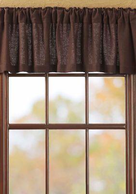 ashton & willow farmhouse kitchen curtains vhc burlap valance - chocolate brown  in 2020