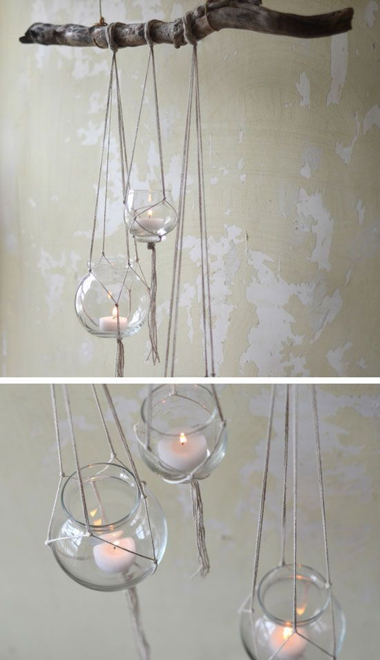 Rustic Tree Branch Candle Hanger | 27 DIY Rustic Decor Ideas for the Home | DIY Rustic Home Decorating on a Budget