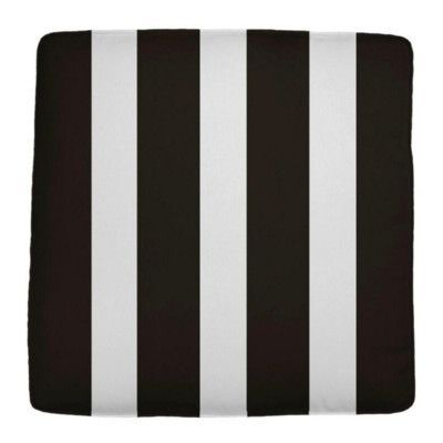 "Wayfair Custom Outdoor Cushions Knife Edge Outdoor Square Ottoman Cushion Fabric: Finnigan Tuxedo, Width: 26"", Depth: 23"""