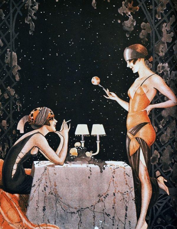 Flappers Girls, 20s Parties, Parisian Life, 1920s Flappers, La Vie, 1920s Illustration, Artdeco, Art Deco, 1920s Art