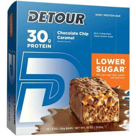 Detour Lower Sugar Chocolate Chip Caramel Protein Bar, 3 oz, 12 count