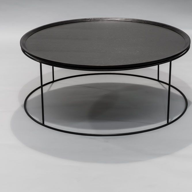 Round coffee table, high and low  Size:  Low - 1000 D x 400mm (W x H)  High - 500 D x 455mm (W x H)  Finish: Powder coated base with black veneer top  Colour: Standard black + black  This product is suitable for commercial use and comes with a 12 month  warranty.  Contact us for shipping costs and availability.