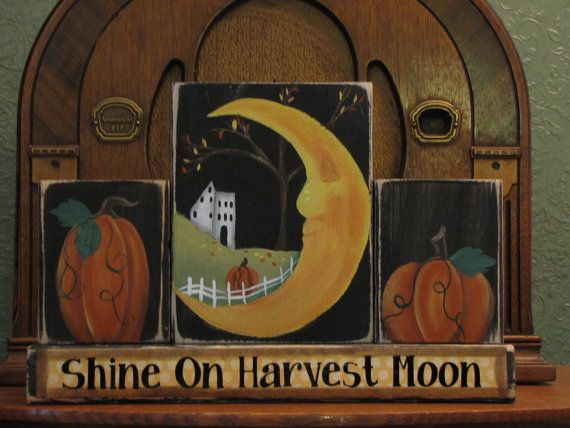 Add to your fall decor and celebrate fall and Thanksgiving with this Shine On Harvest Moon set of blocks!!! This fun set of blocks feature hand painted scenes including pumpkins, the man in the moon and a primitive salt box house. It is truly a one-of-a-kind piece. 8.5 x 12.5  Please note that shipping is an estimate and depends on your location. Shipping charges will be adjusted with a refund or additional charge at time of shipment. I will be happy to combine shipping on items, just e-mail…