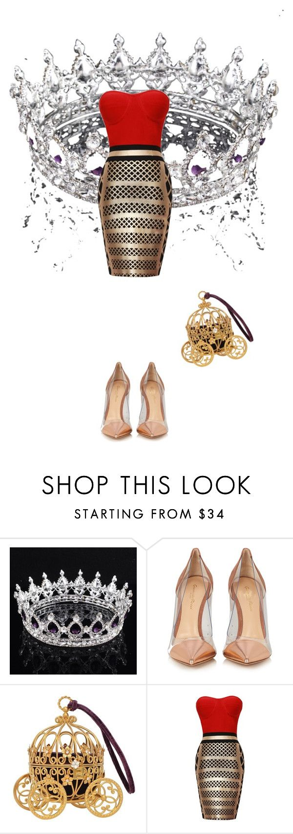 """Red: Queen for a night"" by mariapizzuto on Polyvore featuring moda e Gianvito Rossi"