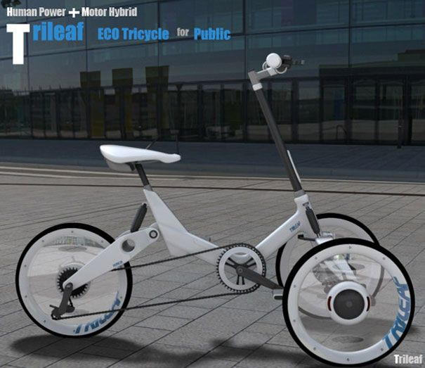 Trileaf: eco electric tricycle, can be used in a public rental system, has a tilting mechanism and a steering in the front, electric motor in the rear, emergency raincoat box built under the seat.