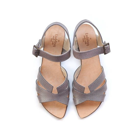 June rossy grey sandals hand made shoes by Liebling