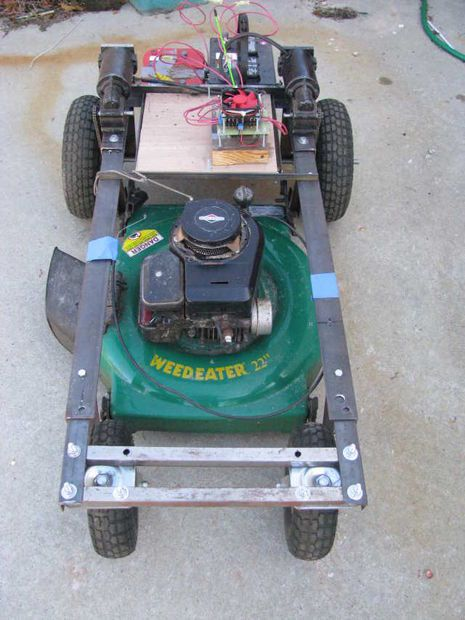Arduino r c lawnmower painted tech and