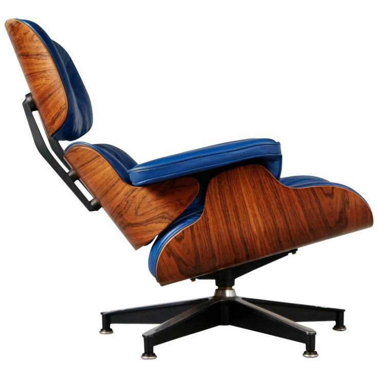 Blue Leather and Rosewood Eames Lounge Chair 670 for Herman Miller, circa 1960 | From a unique collection of antique and modern armchairs at https://www.1stdibs.com/furniture/seating/armchairs/
