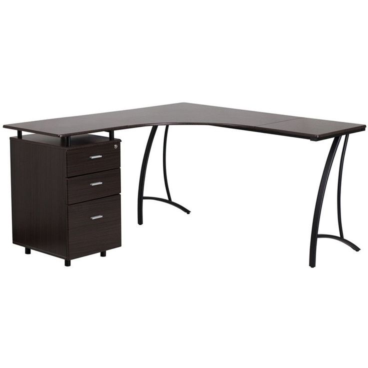 L-Shaped Computer Desk with 3 Drawer Pedestal