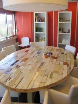 ≥ Ovale tafel van sloophout, vergadertafel, kleur, gestreept - Tafels | Eettafels - Marktplaats.nl