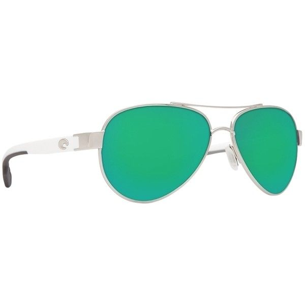 Pre-owned Costa Del Mar Loreto Palladium/green Lens Sunglasses... ($209) ❤ liked on Polyvore featuring accessories, eyewear, sunglasses, none, polarized mirror sunglasses, green lens sunglasses, polarized sunglasses, mirrored sunglasses and green mirror lens sunglasses