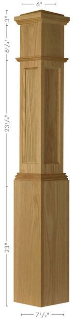 AFP-4092 Red Oak Amish-made Actual Flat Panel Box Newel Post with Lock Mitered Corners, no edge grains | Westfire Stair Parts
