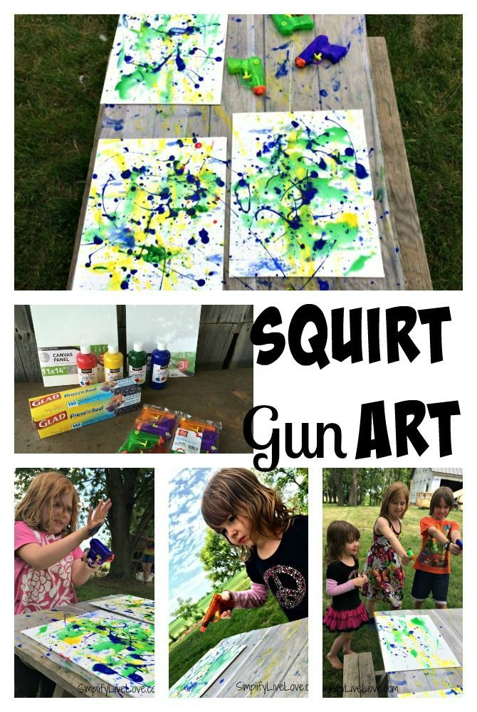 Squirt Gun Canvas Art - Fun Summer Activity for Kids #pmedia #pressnsealhacks #ad collage