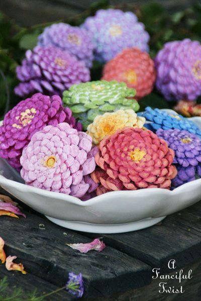 Painted pine cones that look like zinnia flowers!!
