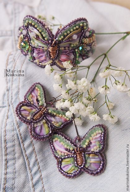 """Jewelry set / Комплекты украшений ручной работы. Ярмарка Мастеров - ручная работа. Купить Комплект украшений """"Spring Butterfly"""". Handmade. Разноцветный, зеленый"""