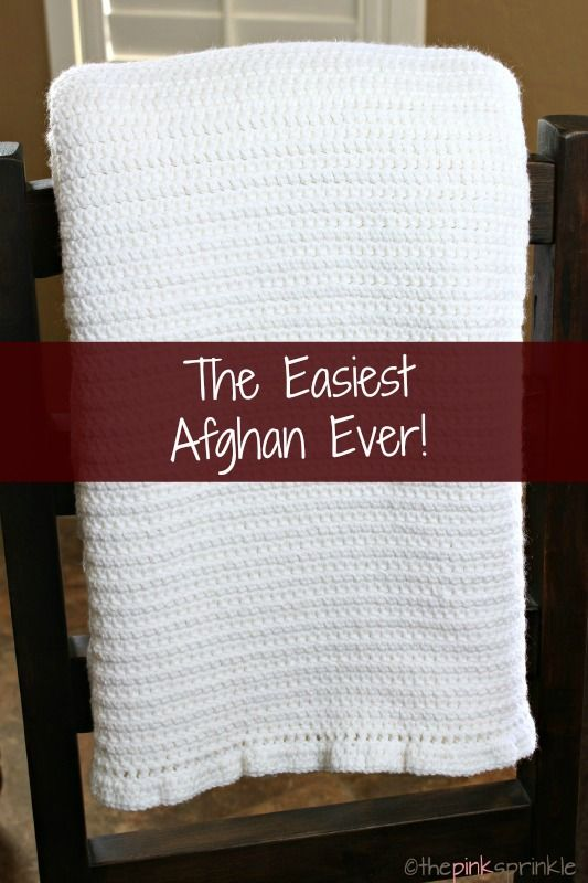 Super simple white afghan crochet blanket