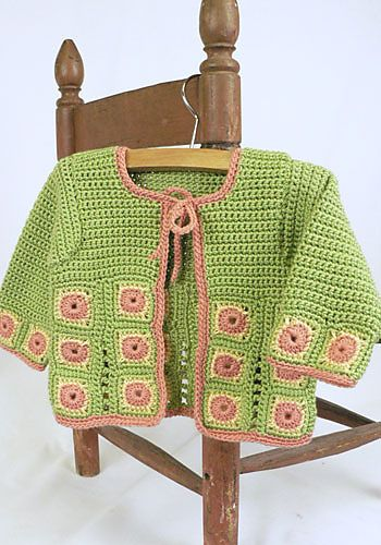 Free Crochet Pattern For Newborn Jacket : Free Crochet Pattern: Shui Baby Jacket CrochetKim Free ...